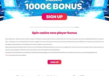Spin casino - info text about bonus for new players.