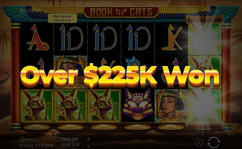 Enormous Win of $227k in Book of Cats in Just 3 Minutes